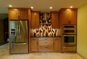 Modern Kitchen with One-wall, Dura Supreme Cabinetry Craftsman Panel, Soapstone counters, limestone tile floors, Ceramic Tile