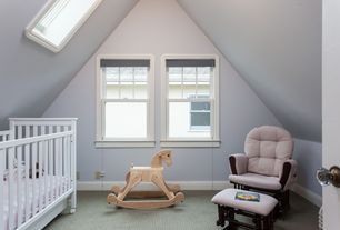Traditional Kids Bedroom with Maxim everearth bamboo rocking horse, Childcraft shoal creek monterey crib, Carpet, Skylight