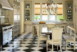 Traditional Kitchen with Breakfast nook, Undermount sink, Wood counters, Vinyl floors, Complex Marble, L-shaped, Chandelier