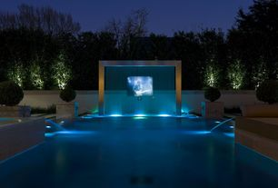 Contemporary Swimming Pool with exterior stone floors, Fountain, Fence, Lap pool, Pathway