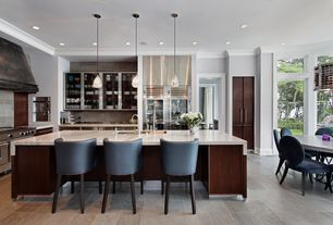 Contemporary Kitchen with Pendant light, Pottery Barn PAXTON GLASS SINGLE PENDANTS, Crown molding, European Cabinets, Flush