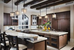 Contemporary Kitchen with Kitchen island, Breakfast bar, limestone tile floors, Exposed beam, Flush, Pendant light, U-shaped