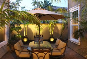 Tropical Patio with Fence, exterior tile floors