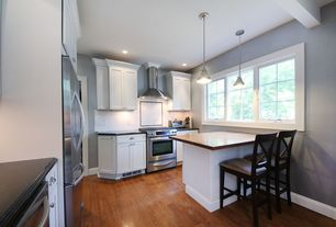 Traditional Kitchen with Flat panel cabinets, Subway Tile, Oak - Benedictine 3 1/4 in. Solid Hardwood Plank, L-shaped