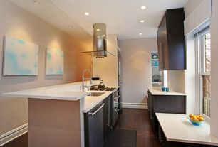 Modern Kitchen with Corian designer white, Undermount sink, European Cabinets, Galley, Quartz counters, Flush