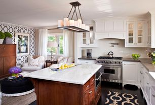 Eclectic Kitchen with L-shaped, interior wallpaper, Complex marble counters, Subway Tile, Kitchen island, Crown molding