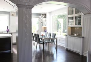 Traditional Kitchen with Columns, dishwasher, Chandelier, Standard height, Flush, can lights, Glass panel, L-shaped
