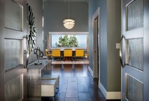 Contemporary Entryway with French doors, Hardwood floors, High ceiling, Pendant light