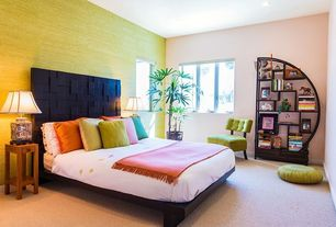 Asian Master Bedroom with Carpet