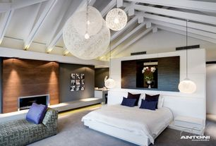 Contemporary Master Bedroom with Exposed beam, flush light, Carpet, White globe pendant light in cotton thread feature