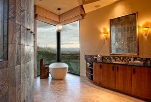 Contemporary Master Bathroom with Paint, Bathtub, Pendant light, partial backsplash, Flush, Undermount sink, Ceramic Tile