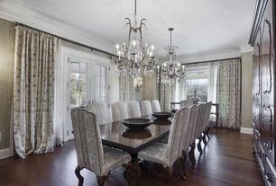 Traditional Dining Room with Chandelier, Laminate floors, French doors, double-hung window, Standard height, Crown molding