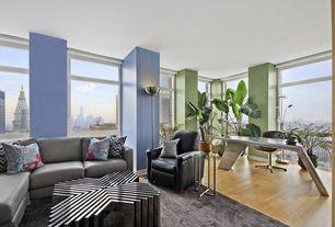 Modern Living Room with flush light, Columns, Hardwood floors