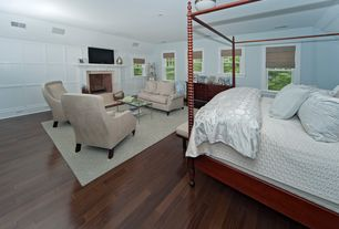 Traditional Master Bedroom with Hardwood floors, Crown molding, Built-in bookshelf, Wainscotting, flush light