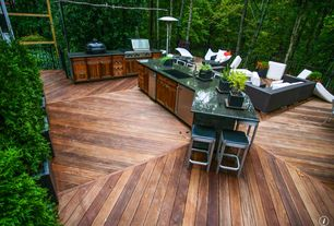 Contemporary Deck with Outdoor kitchen, Pathway, Fire pit