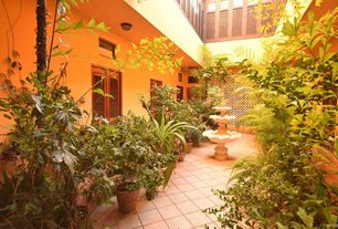 Tropical Patio with Fountain, exterior stone floors, Pathway