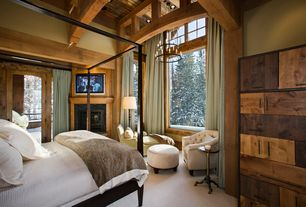 Rustic Master Bedroom with Carpet, Bedford king canopy bed, Restoration hardware 1930s english tufted upholstered tub chair
