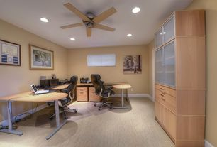 Modern Home Office with Carpet, Ceiling fan
