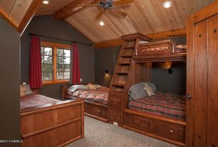 Craftsman Kids Bedroom with Exposed beam, Ceiling fan, Fabric curtain, Crown molding, Carpet, Custom Bunk Beds, Bunk beds