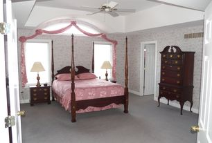 Traditional Master Bedroom with interior wallpaper, Standard height, six panel door, Carpet, French doors, Casement