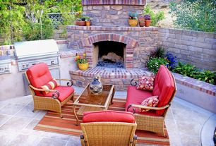 Traditional Patio with Sunstone Grills Slide-In Double Side Burner, exterior tile floors, outdoor pizza oven, Fence