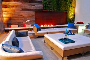 Contemporary Patio with Fence, Corten steel, Pathway, exterior tile floors, Boga furniture new eagle sectional, Fire pit