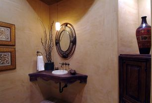 Eclectic Powder Room with Standard height, Wood counters, drop-in sink, Powder room, Pendant light
