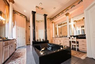 Traditional Master Bathroom with Raised panel, Master bathroom, Crown molding, Soapstone, specialty door, Soapstone counters