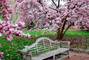 "Traditional Landscape/Yard with exterior brick floors, Anderson teak marlborough two seater 66""w teak garden bench"