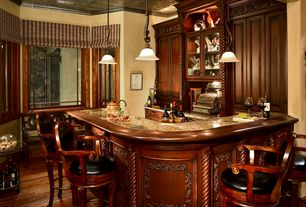 Traditional Bar with Built-in bookshelf, flush light, Hardwood floors