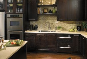 Contemporary Kitchen with Travertine Machiatto Silver Tumbled 3x6 Subway Tile, Flush, Undermount sink, can lights, L-shaped