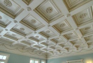 """Mediterranean Living Room with 13""""OD x 1 1/8""""P, Ceiling Medallion, Eaton, 24""""W x 24""""H x 2 7/8""""P Classic Ceiling Tile"""
