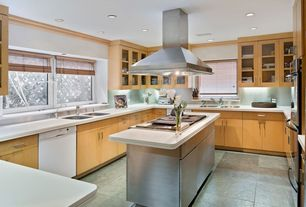 Contemporary Kitchen with Casement, Concrete tile , Built-in bookshelf, Crown molding, Standard height, can lights
