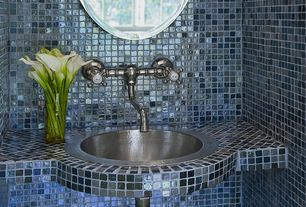 Traditional Powder Room with Ceramic Tile, Powder room, Bedrosians 1 x Mosaic Ice Crackle Gloss Tile in Blue, High ceiling