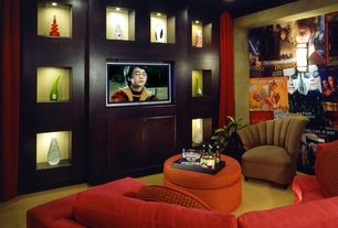 Eclectic Home Theater with Carpet, Built-in bookshelf