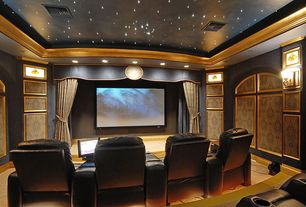 Traditional Home Theater with Wall sconce, Carpet