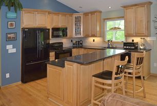 Country Kitchen with full backsplash, Paint 2, can lights, dishwasher, Paint 1, gas range, Kitchen island, Standard height