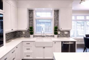 Contemporary Kitchen with Flat panel cabinets, MS International Black and White Bamboo Glass Mosaic, Farmhouse sink, L-shaped
