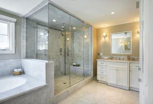 Traditional Master Bathroom with Bathtub, drop in bathtub, Wall Tiles, Paint 1, Flat panel cabinets, Master bathroom, Shower