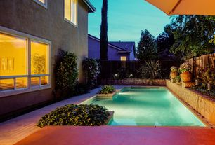 Mediterranean Swimming Pool with Pool with hot tub, Raised beds, Fence, exterior tile floors