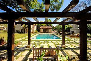 Mediterranean Swimming Pool with Trellis, exterior tile floors