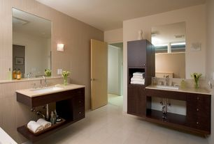 Modern Master Bathroom with Quartz counters, Daltile briton bone 12 in. x 12 in.ceramic floor and wall tile, Wall sconce