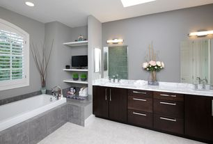 Contemporary Full Bathroom with European Cabinets, Double sink, High ceiling, Powder room, Skylight, Simple granite counters