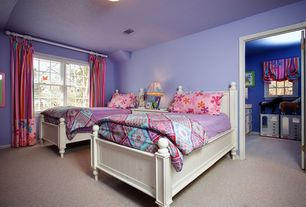 Modern Kids Bedroom with Standard height, can lights, Paint 1, Paint 2, specialty window, Carpet, double-hung window