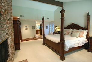 Rustic Master Bedroom with Tuftex Mixed Media Carpet, Exposed beam, Belvedere Queen Poster Bed by Fine Furniture Design