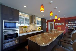 Contemporary Kitchen with Pendant light, mexican tile backsplash, full backsplash, electric cooktop, One-wall, wall oven