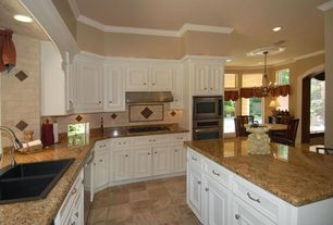 Traditional Kitchen with wall oven, Framed Partial Panel, High ceiling, drop-in sink, Paint, dishwasher, Wall Hood, L-shaped