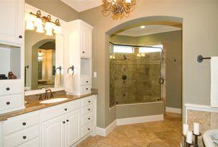 Traditional Full Bathroom with Raised panel, Undermount sink, Crown molding, Chandelier, frameless showerdoor, Shower jets