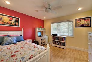 Cottage Guest Bedroom with Hardwood floors, Ceiling fan