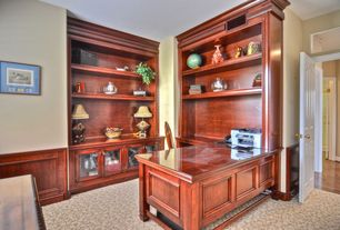Traditional Home Office with Standard height, six panel door, Carpet, Built-in bookshelf